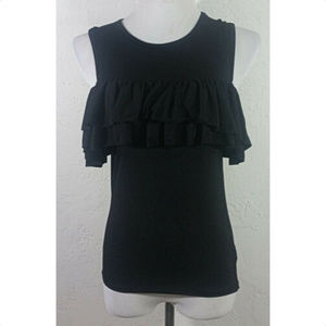 Ardene Small Tank Top Black Ruffles Sleeveless
